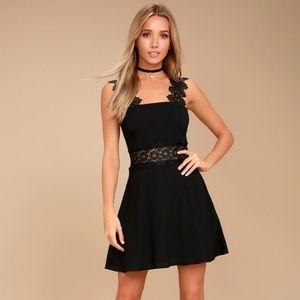 Lulu's Black Skater Dress Chrochet Straps Small